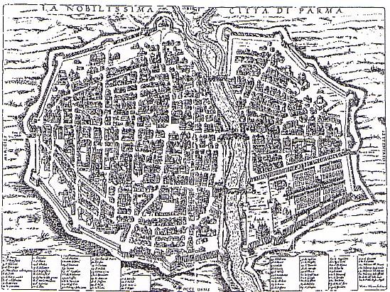 cartina Parma nel 1600