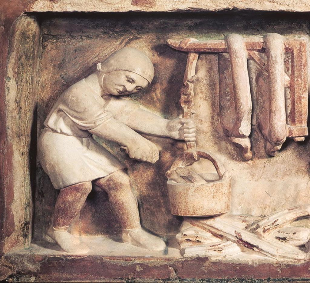 Benedetto Antelami, preparazione dei salumi, Battistero di Parma