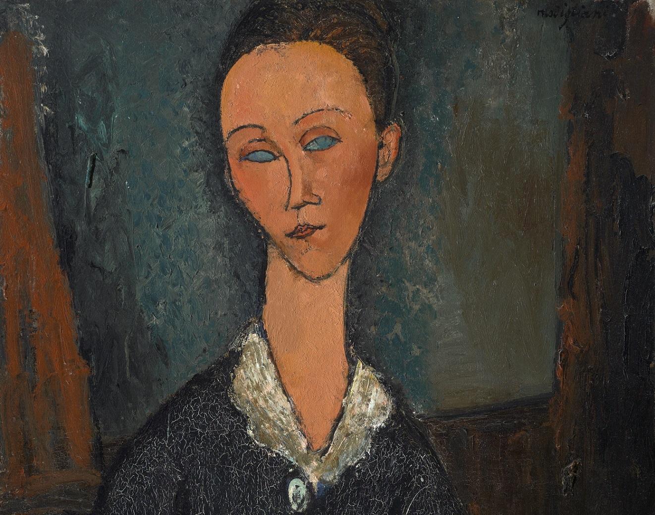 Amedeo Modigliani, Femme au col blanc, 1917, olio su tela. Particolare.jpg